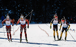 31.01.2013, Biathlonzentrum, Obertilliach AUT, IBU, Jugend und Junioren Weltmeisterschaften, Staffel Jugend Maenner, im Bild Übergabe zwischen Fredrik Roerwik und Vemund Gurigard (NOR) und Übergabe zwischen Philipp Horn und Niklas Homberg (GER) // during the Relay Youth Men of IBU Youth and Juniors World Championships at Biathloncenter, Obertilliach, Austria on 2013/01/31. EXPA Pictures © 2013, PhotoCredit: EXPA/ Michael Gruber