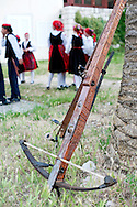 Rab Medieval Crossbow Tournament. Rab, Croatia (25 June 2013). The tournament, which dates back to the 14th century and marks the successful defense of the city against a seige in 1358, was revived by the Rab Crossbowmen's Association (Udruga rapskih samostrelicara) in 1995, and is held annually on 9 May, 25 June, 27 July (St Christopher's Day, the city's patron saint) and 15 August (Assumption Day). It is one of only two such tournaments using the medieval crossbow (the other is in San Marino in Italy) - a heavy weapon which shoots a handcrafted wooden bolt at speeds of around 90m per second. 25 June is Croatian National Day or Statehood Day, and marks the country's declaration of independance from Yugoslavia in 1991.