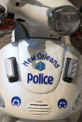 30 Sept, 2005. New Orleans, Louisiana. Hurricane Katrina aftermath. <br /> The livery of the embattled New Orleans Police Department as displayed on a scooter in the French Quarter.<br /> Photo; ©Charlie Varley/varleypix.com
