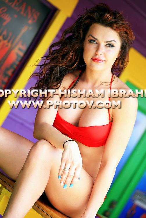 Sexy young Russian woman in red bikini, Freeport, Bahamas
