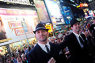 Fans watch the world premiere screening 'Mad Men' Season 4 in Times Square on Sunday, July 25, 2010 in New York. Photo by Keith Bedford