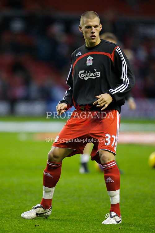 LIVERPOOL, ENGLAND - Saturday, February 2, 2008: Liverpool's Martin Skrtel warms-up before the Premiership match against Sunderland at Anfield. (Photo by David Rawcliffe/Propaganda)