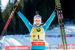 Winner MAKARAINEN Kaisa (FIN) celebrates at medal ceremony after the Women 12,5 km Mass Start at day 4 of IBU Biathlon World Cup 2014/2015 Pokljuka, on December 21, 2014 in Rudno polje, Pokljuka, Slovenia. Photo by Vid Ponikvar / Sportida
