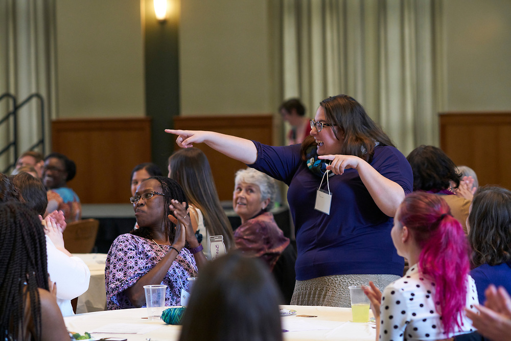 Members of the womens mentoring program interact during an ice breaker activity. Womens, mentoring, program, meet, and, greet, event, walter, rotunda