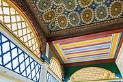 Moroccan zellije mosaic wall / doorway tiling, Bahia Palace, Marrakesh, Morocco, 2017-12-05.