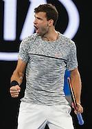 GRIGOR DIMITROV (BUL) jubelt,Jubel,Emotion,<br /> <br /> Australian Open 2017 -  Melbourne  Park - Melbourne - Victoria - Australia  - 27/01/2017.