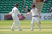 Somerset's Marcus Trescothick reaches his half century - Somerset's Marcus Trescothick on making his 50 is congratulated by Somerset's Chris Rogers  during the Specsavers County Champ Div 1 match between Somerset County Cricket Club and Lancashire County Cricket Club at the County Ground, Taunton, United Kingdom on 4 May 2016. Photo by Graham Hunt.