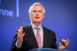 May 3, 2017 - Brussels, Belgium - European Chief Negotiator of the Task Force for the Preparation and Conduct of the Negotiations with the United Kingdom under Article 50 MICHEL BARNIER gives a press conference on Commission's Recommendation to open Article 50 negotiations with the United Kingdom  at European Commission headquarters in Brussels. (Credit Image: © Wiktor Dabkowski via ZUMA Wire)
