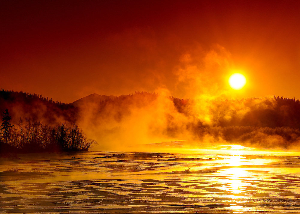 Yukon River sunrise with ice fog