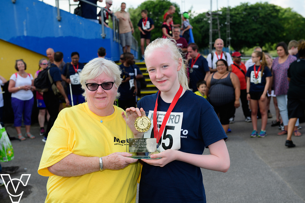 Metro Blind Sport's 2017 Athletics Open held at Mile End Stadium.  Medal presentations.  Emma Quigley<br /> <br /> Picture: Chris Vaughan Photography for Metro Blind Sport<br /> Date: June 17, 2017