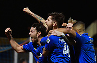 Football - 2018 / 2019 Emirates FA Cup - Fourth Round: AFC Wimbledon vs. West Ham United<br /> <br /> AFC Wimbledon's Scott Wagstaff (obscured) celebrates scoring his side's third goal and his second, at Cherry Red Records Stadium (Kingsmeadow).<br /> <br /> COLORSPORT/ASHLEY WESTERN