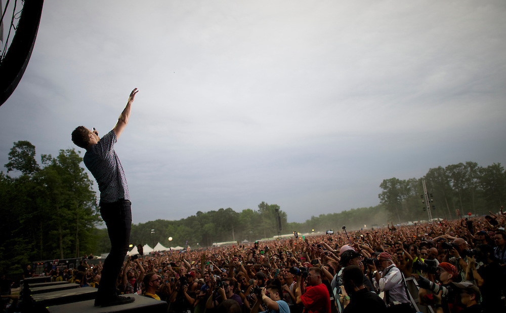 Imagine Dragons frontman Dan Reynolds performs during the Firefly Music Festival in Dover, DE on June 21, 2014.  The four day festival is set at a 105 acre grounds at the Dover International Speedway and many well known bands perform.