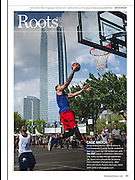 Inside full page spread about The Cage basketball in downtown Oklahoma City featuring the Devon Tower in the background. Appeared in Sep/Oct 2014 issue of Oklahoma Today.