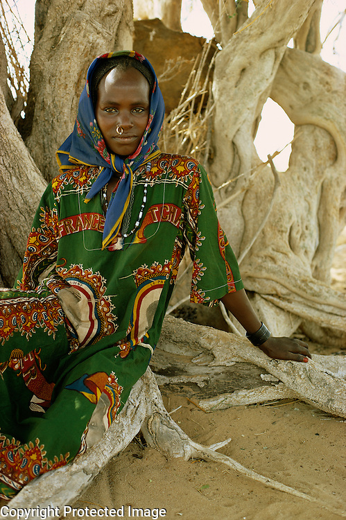 Portrait of Daza girl in Kanem, Chad, Africa.