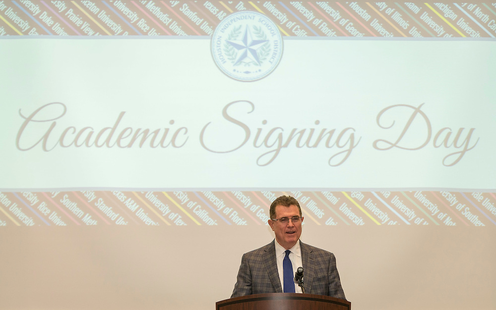 Houston ISD Superintendent Dr. Terry Grier comments during the Academic Signing Day activities at the Region 4 Education Center, May 23, 2014.