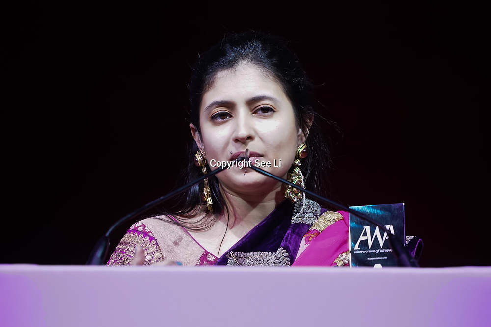 London, UK. 10th May 2017.Entrepreneur Award to Sunaina Sinha at The Asian Women of Achievement Awards 2017 at the London Hilton on Park Lane Hotel. Photo by See li Credit: See Li