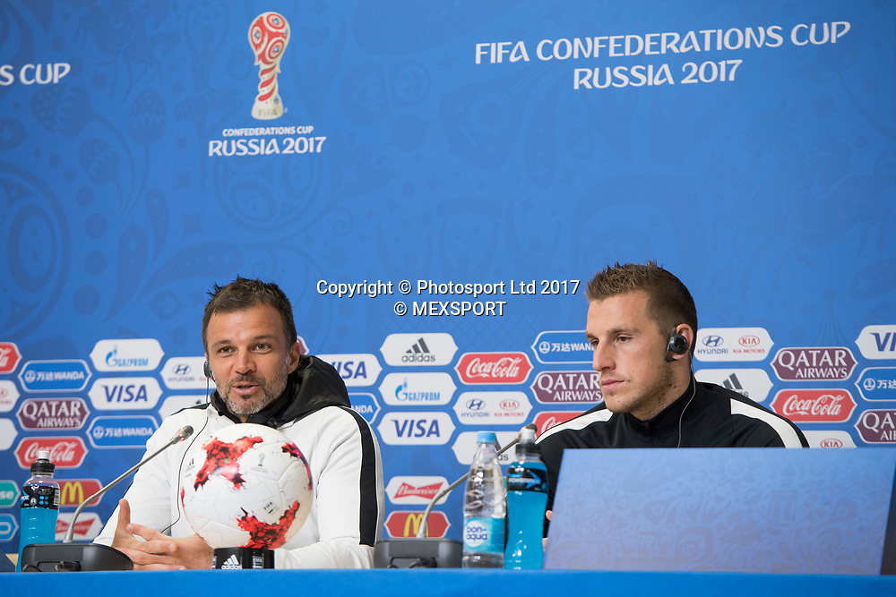 All Whites coach Anthony Hudson and Chris Wood during the Press Conference of the Selection of New Zealand before their match against the Selection of Portugal, Correspondent to Group A of the FIFA Confederations Cup Russia 2017, in the Stadium Krestovski (Zenit) San Petesbrgo in St. Petersburg.<br /> 23 June 2017.<br /> Copyright photo: MEXSPORT / Jorge Martinez / www.photosport.nz