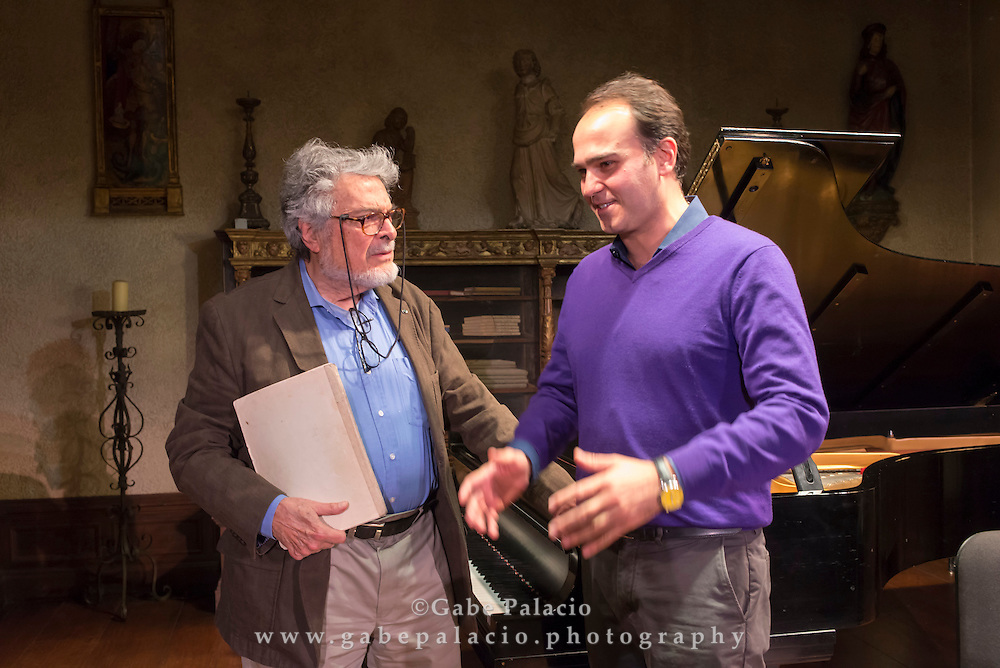 Chamber Talk with Max Mandel featuring the Evnin Rising Stars and distinguished artist Leon Fleisher at Caramoor in Katonah New York on October 21, 2014. <br /> (photo by Gabe Palacio)