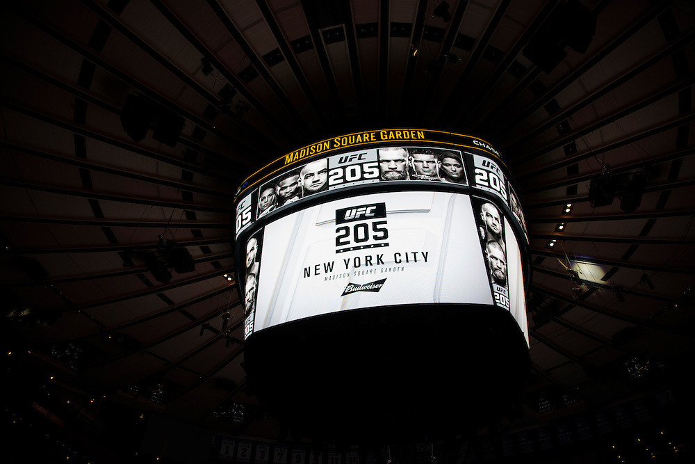 FIGHTER steps on the scale during the UFC 205 weigh-ins at Madison Square Garden in New York, New York on November 11, 2016.  (Cooper Neill for The Players Tribune)