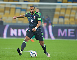 KIEV, UKRAINE - Easter Monday, March 28, 2016: Wales' captain Ashley Williams in action against Ukraine during the International Friendly match at the NSK Olimpiyskyi Stadium. (Pic by David Rawcliffe/Propaganda)