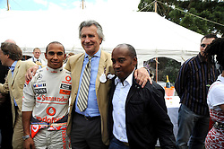 Left to right, LEWIS HAMILTON, ARNAUD BAMBERGER and ANTHONY HAMILTON at the Cartier Style et Luxe, the Goodwood Festival of Speed, West Sussex on 13th July 2008.<br /> <br /> NON EXCLUSIVE - WORLD RIGHTS