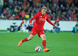 ADELAIDE, AUSTRALIA - Monday, July 20, 2015: Liverpool's Lucas Leiva in action against Adelaide United during a preseason friendly match at the Adelaide Oval on day eight of the club's preseason tour. (Pic by David Rawcliffe/Propaganda)