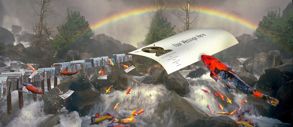 Yosemite National Park, California, Panorama, Flying Fish delivering mail to mailbox, Rainbow stream CGI Backgrounds, ,Beautiful Background