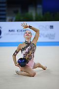 Halkina Katsiaryna during qualifying at ball in Pesaro World Cup 26 April 2013. Katsiaryna is a Belarusian rhythmic gymnastics athlete born February 25, 1997 in Minks, Belarus.