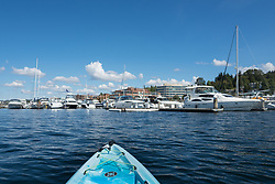 United States, Washington, Carillon Point Marina viewed from kayak