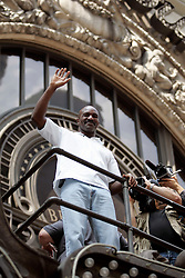 August 30, 2007; New York, NY, USA; Evander Holyfield waves to fans after the final press conference for his upcoming fight against WBO Heavyweight Champion Sultan Ibragimov.  The two will meet on Saturday, October 13th, at the Khodynka Ice Palace in Moscow, Russia.