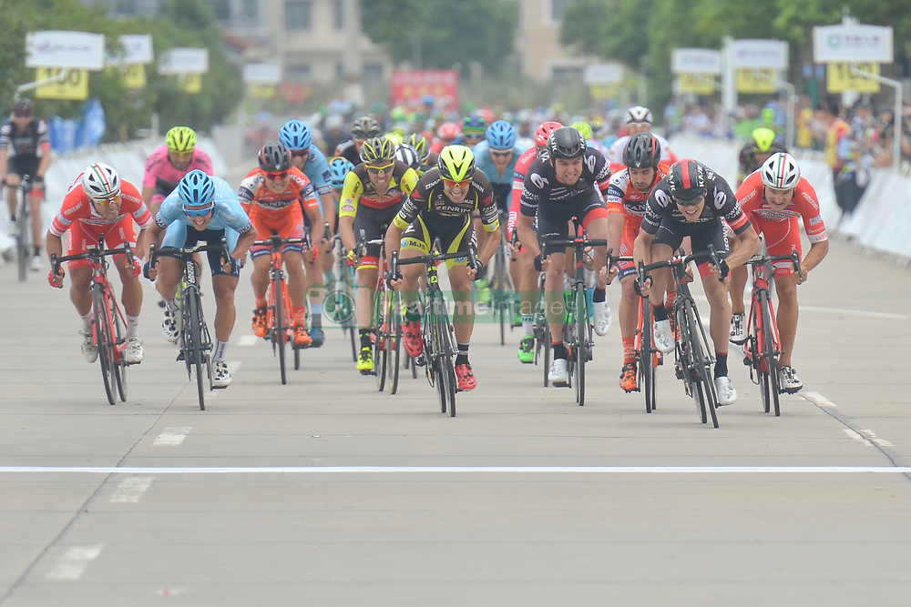 September 20, 2017 - Changde City, China - Scott Sunderland (Second from Right) from Isowhey Sports Swisswellness sprints to win the second stage of the 2017 Tour of China 2, the 97.6km Changde Lixiang Circuit Race. .On Wednesday, 20 September 2017, in Lixian County, Changde City, Hunan Province, China. (Credit Image: © Artur Widak/NurPhoto via ZUMA Press)