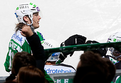 Tomi Mustonen of Olimpija after he scored during ice-hockey match between HDD Tilia Olimpija and HK Acroni Jesenice in 26th Round of EBEL league, on December 10, 2010 at Hala Tivoli, Ljubljana, Slovenia.(Photo By Vid Ponikvar / Sportida.com)