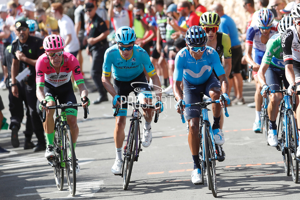Nairo Quintana (COL, Movistar), Miguel Angel Lopez (COL, Astana Pro Team) and Rigoberto Uran (COL, EF Education First Drapac) during the 73th Edition of the 2018 Tour of Spain, Vuelta Espana 2018, Stage 13 cycling race, Candas Carreno - La Camperona 174,8 km on September 7, 2018 in Spain - Photo Luca Bettini / BettiniPhoto / ProSportsImages / DPPI