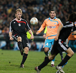 MARSEILLE, FRANCE - Tuesday, December 11, 2007: Liverpool's Dirk Kuyt in action against Olympique de Marseille during the final UEFA Champions League Group A match at the Stade Velodrome. (Photo by David Rawcliffe/Propaganda)
