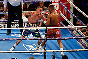 Josh Warrington attempts a punch during the IBF World Featherweight Championship between Josh Warrington and Kid Galahad at First Direct Arena, Leeds, United Kingdom on 15 June 2019.