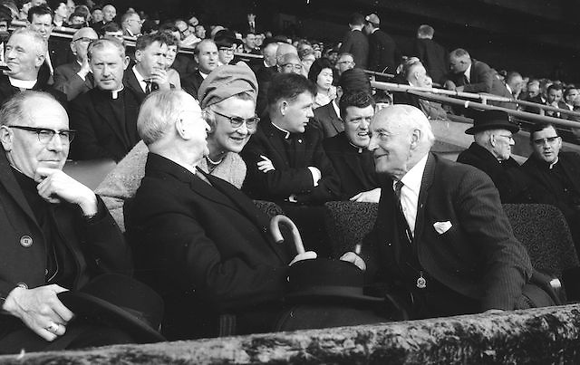 The VIP crowd during the All Ireland Senior Gaelic Football Final Kerry v Down in Croke Park on the 22nd September 1968. Down 2-12 Kerry 1-13.