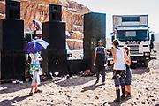 People and speakers at Middle East Tek, Wadi Rum, Jordan, 2008