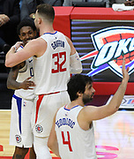 LA Clippers guard Lou Williams #23 gets a hug from LA Clippers forward Blake Griffin #32 near the end of the game. The Los Angeles Clippers defeated the  Denver Nuggets 109-104 at Staples Center in Los Angeles, CA 1/017/2018 (Photo by John McCoy, Los Angeles Daily News/SCNG)