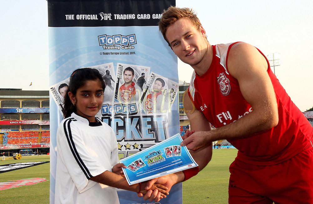 Topps ñ Cricket Attax game players Aastha gets her runners up award before match 54 of the Indian Premier League ( IPL ) Season 4 between the Kings XI Punjab and the Mumbai Indians held at the PCA stadium in Mohali, Chandigarh, India on the 10th May 2011..Photo by Money Sharma/BCCI/SPORTZPICS
