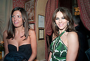AMANDA SHEPPARD; LIZ HURLEY, Graydon Carter hosts a diner for Tom Ford to celebrate the London premiere of ' A Single Man' Harry's Bar. South Audley St. London. 1 February 2010