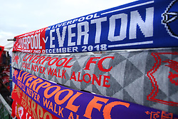 Half and half scarves for for the Merseyside Derby between Liverpool and Everton - Mandatory by-line: Robbie Stephenson/JMP - 02/12/2018 - FOOTBALL - Anfield - Liverpool, England - Liverpool v Everton - Premier League