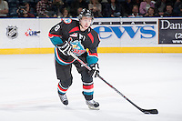 KELOWNA, CANADA - OCTOBER 22: Cole Martin #8 of the Kelowna Rockets skates the puck up the ice against the Calgary Hitmen on October 22, 2013 at Prospera Place in Kelowna, British Columbia, Canada.   (Photo by Marissa Baecker/Shoot the Breeze)  ***  Local Caption  ***