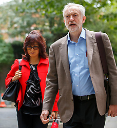 © Licensed to London News Pictures. 27/08/2015. London, UK. Labour Party leader candidates Jeremy Corbyn and his wife Laura Alvarez attending a husting hosted by Daily Mirror at DoubleTree Hilton Hotel in London on Thursday, August 27, 2015. Photo credit: Tolga Akmen/LNP