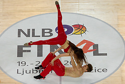 Dunking devils perform during final match of Basketball NLB League at Final four tournament between KK Union Olimpija (SLO) and Partizan Belgrade (SRB), on April 21, 2011 in Arena Stozice, Ljubljana, Slovenia. Partizan defeated Union Olimpija 77-74 and became NLB league Champion 2011.  (Photo By Vid Ponikvar / Sportida.com)