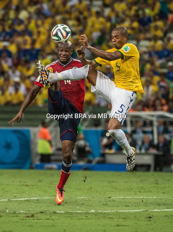 Fernandinho. Brazil v Colombia, quarter-final. FIFA World Cup Brazil 2014. Castelao stadium, Fortaleza. 4 July 2014.