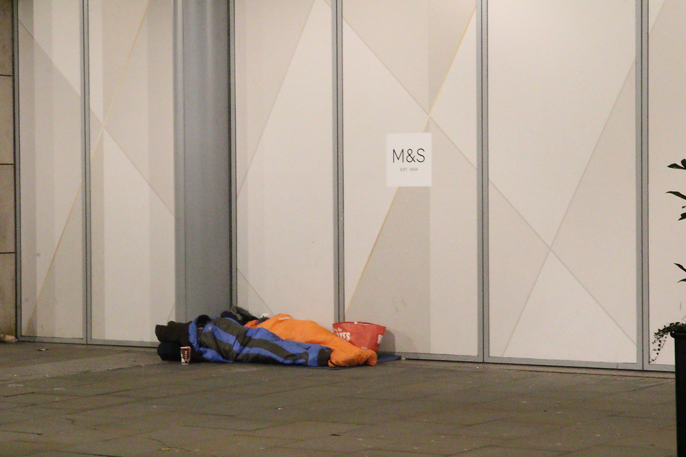 Manchester UK 25.12.2017  Images taken  between 03.35  and  06.35 on Christmas Day around Manchester City Centre <br /> <br /> The images how  41 people will wake up on Christmas day on the streets of Manchester Manchester.