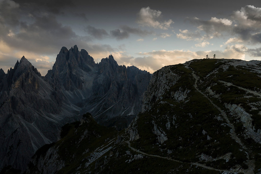 Rob Dean and Josh Ibbett on a late evening warm-down after riding the 90 Km Lavaredo Ultra Trail, Dolomites, Italy.