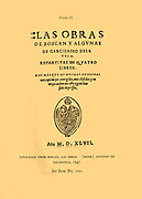 Cover of Las Obras by Boscan Juan Boscán Almogáver, (1490 – 1542), Spanish poet,  Although he was a Catalan, he wrote exclusively in Spanish. Juan Boscán's most famous works appear in Las obras de Boscán y algunas de Garcilaso de la Vega repartidas en quatro libros (The Works of Boscan and Some of Garcilaso de la Vega Divided in Four Volumes).