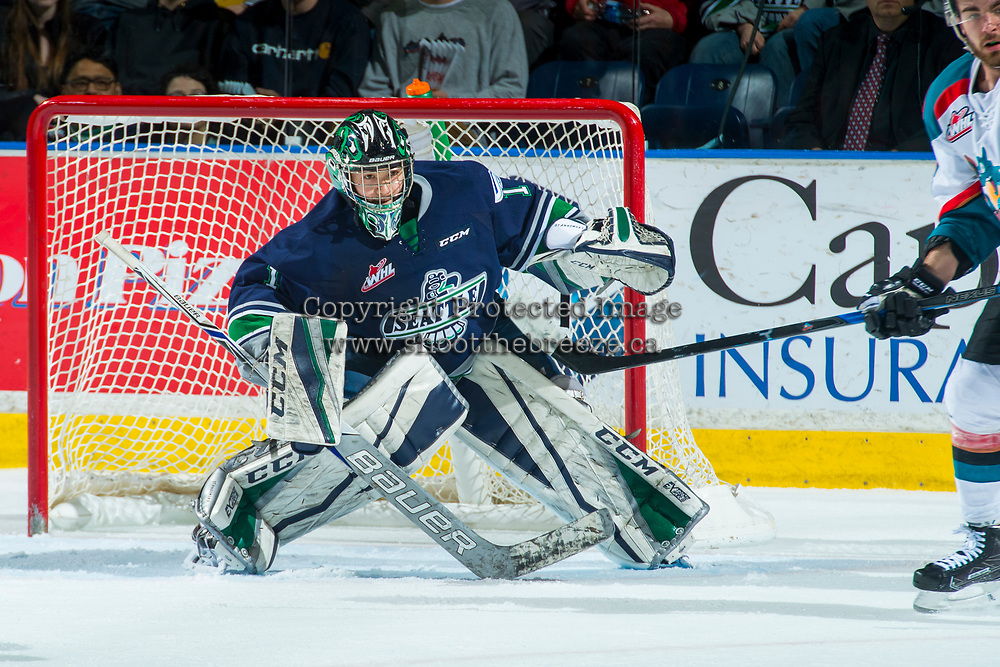 KELOWNA, CANADA - APRIL 26: Carl Stankowski #1 of the Seattle Thunderbirds defends the net against the Kelowna Rockets on April 26, 2017 at Prospera Place in Kelowna, British Columbia, Canada.  (Photo by Marissa Baecker/Shoot the Breeze)  *** Local Caption ***