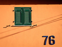 MANAROLA, ITALY - CIRCA MAY 2015:  Window in the village of Manarola in Cinque Terre, Italy.